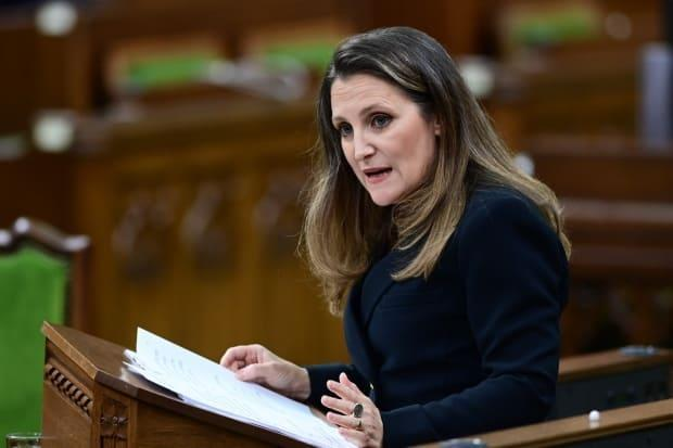 Finance Minister Chrystia Freeland delivers the federal budget in the House of Commons in Ottawa on Monday April 19, 2021. The federal government unveiled spending plans to manage the remainder of the COVID-19 crisis and chart an economic course for a post-pandemic Canada.