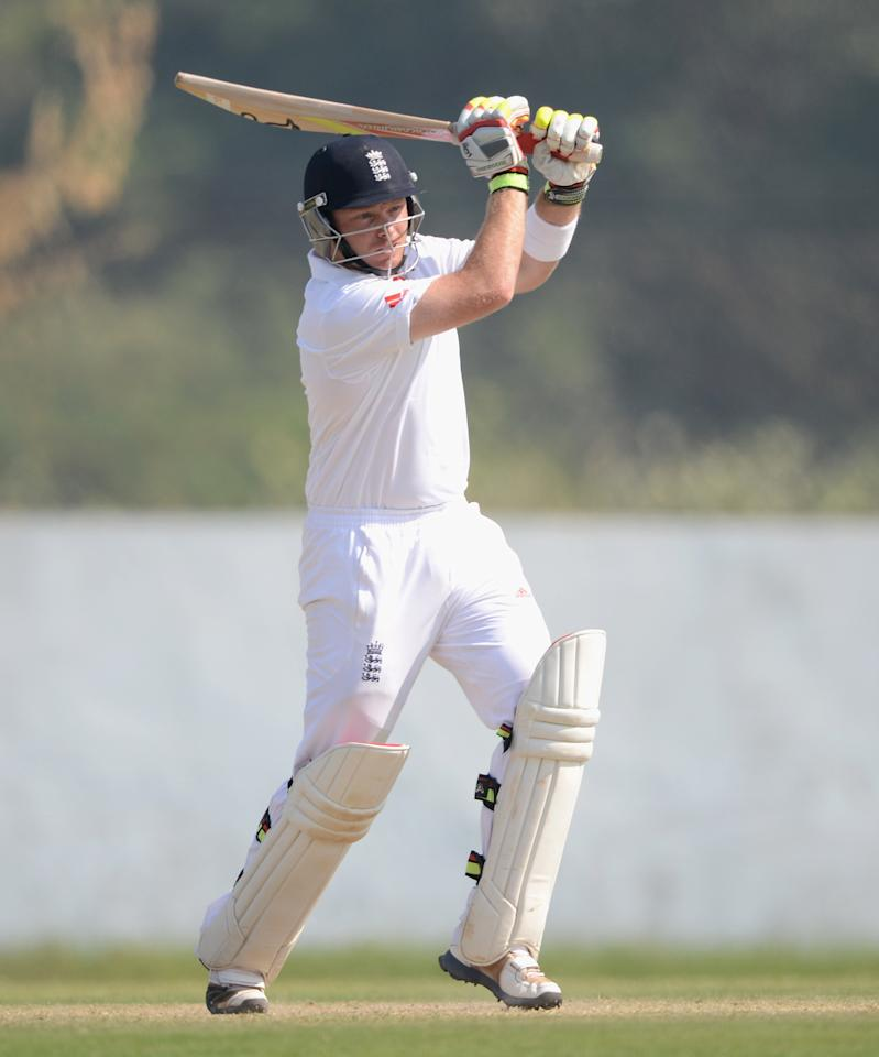 AHMEDABAD, INDIA - NOVEMBER 11:  Ian Bell of England bats during day four of the tour match between England and Haryana at Sardar Patel Stadium ground B on November 11, 2012 in Ahmedabad, India.  (Photo by Gareth Copley/Getty Images)
