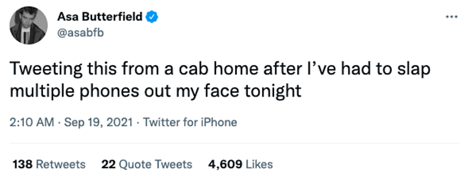 Asa Butterfield was left frustrated after being harassed by 'Sex Education' fans on a night out (Twitter @asabfb)