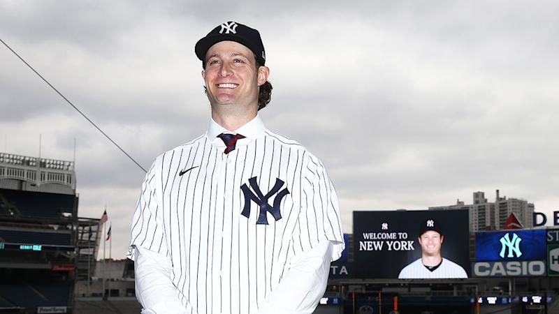 Seen here, Gerrit Cole shaved his iconic beard for his Yankees unveiling.