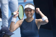 Taiwan's Hsieh Su-Wei celebrates her win over Marketa Vondrousova of the Czech Republic during their fourth round match at the Australian Open tennis championships in Melbourne, Australia, Sunday, Feb. 14, 2021. (AP Photo/Andy Brownbill)