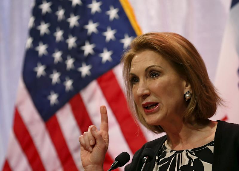 Potential Republican presidential candidate Carly Fiorina speaks at the Iowa Faith and Freedom Coalition's forum in Waukee