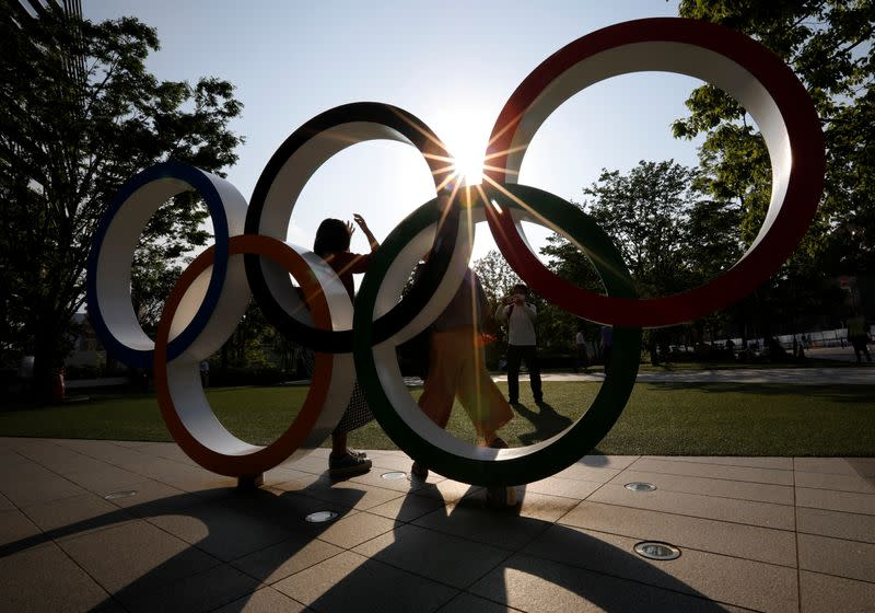 Olympic Rings monument outside the Japan Olympic Committee (JOC) headquarters in Tokyo