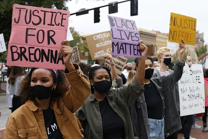 In this Sept. 25, 2020, file photo, University of Georgia students lead a Black Lives Matter protest in downtown in memory of Breonna Taylor in Athens, Ga. (Joshua L. Jones/Athens Banner-Herald via AP, File)
