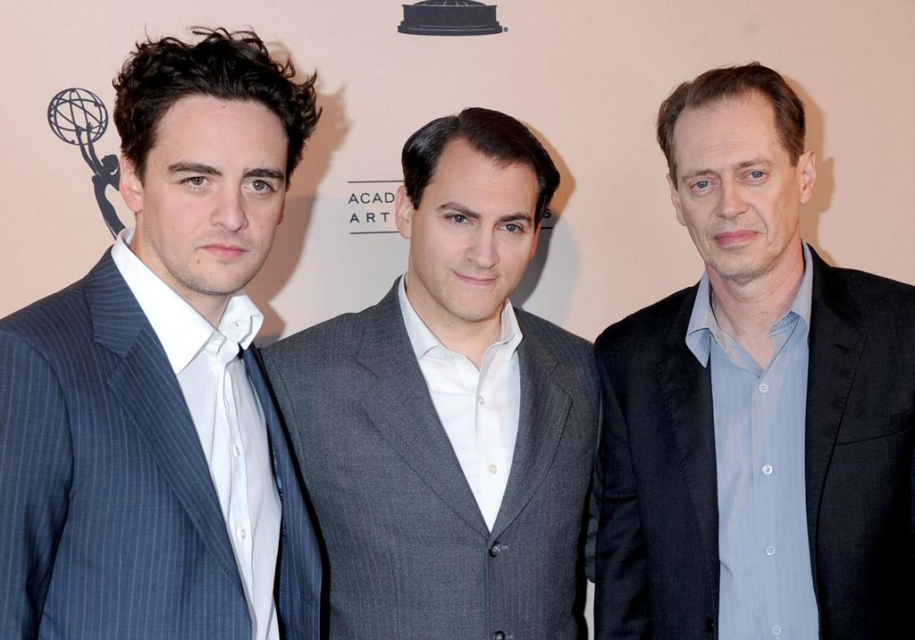 """Vincent Piazza, Michael Stuhlbarg, and Steve Buscemi arrive at The Academy of Television Arts & Sciences Presents An Evening With """"<a href=""""http://tv.yahoo.com/boardwalk-empire/show/41428"""">Boardwalk Empire</a>"""" event at Leonard H. Goldenson Theatre on April 26, 2012 in North Hollywood, California."""