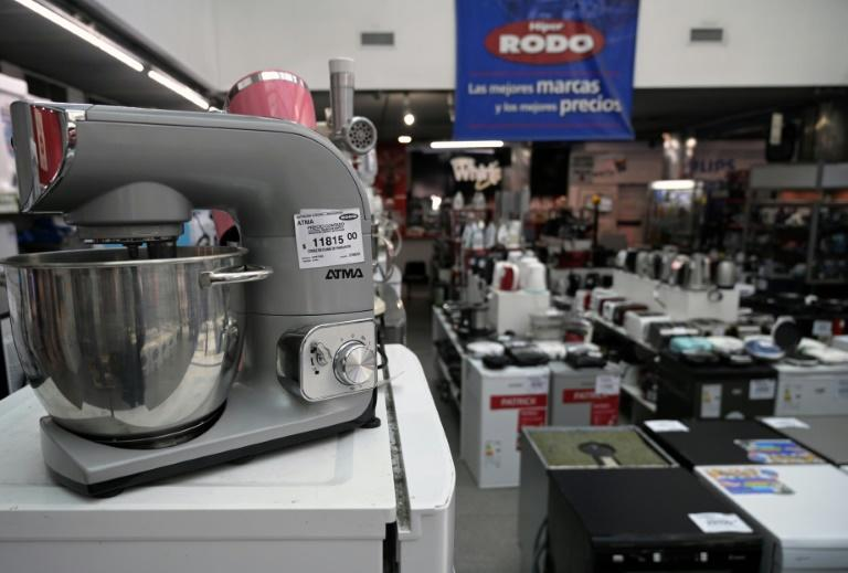 Household goods are displayed for sale at a Buenos Aires store