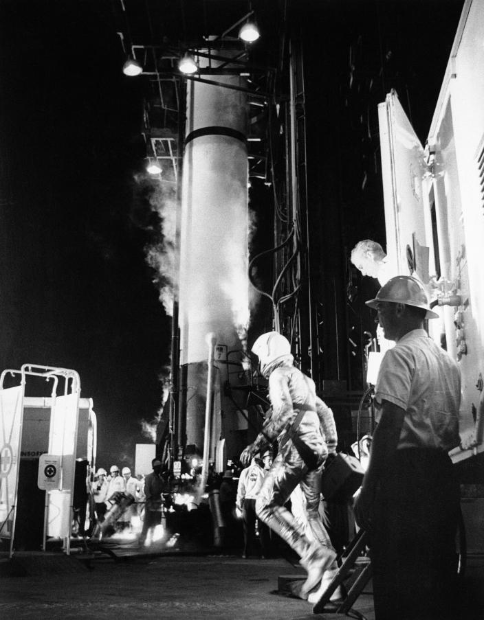 FILE - In this May 5, 1961 file photo, astronaut Alan Shepard arrives at the launching pad in Cape Canaveral, Fla., to board a Mercury-Redstone rocket. Freedom 7 was the first American manned suborbital space flight, making Shepard the first American in space. (AP Photo)