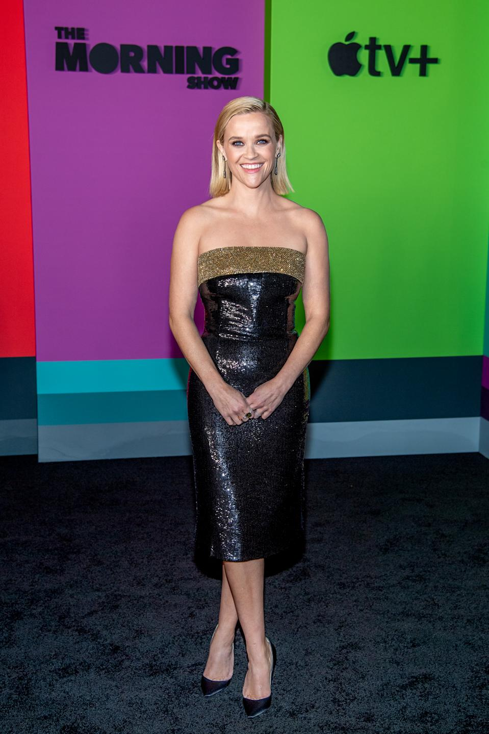 """NEW YORK, NEW YORK - OCTOBER 28: Actress Reese Witherspoon attends Apple TV+'s """"The Morning Show"""" world premiere at David Geffen Hall on October 28, 2019 in New York City. (Photo by Roy Rochlin/WireImage)"""
