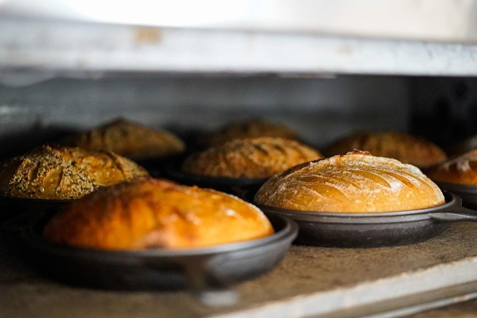 Bread, baking in the oven at Jyan Isaac Bread.