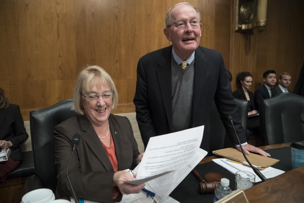 "<p> Sen. Patty Murray, D-Wash., the ranking member, and Sen. Lamar Alexander, R-Tenn., chairman of the Senate Health, Education, Labor, and Pensions Committee, meet before the start of a hearing on Capitol Hill in Washington, Wednesday, Oct. 18, 2017, the morning after they reached a deal to resume federal payments to health insurers that President Donald Trump had halted. Sen. Alexander says Trump called him Wednesday morning ""to be encouraging"" of bipartisan efforts to come up with a plan to stabilize health insurance premiums. (AP Photo/J. Scott Applewhite) </p>"