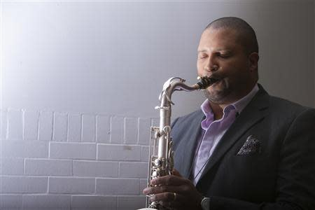 Greene, a jazz musician and father of 6-year-old Ana Marquez-Greene who was killed at Sandy Hook Elementary School poses in Danbury