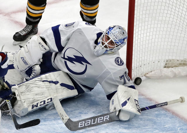 Tampa Bay Lightning goaltender Louis Domingue (70) reacts after giving up a goal to Boston Bruins center Noel Acciari in the third period of an NHL hockey game, Thursday, Feb. 28, 2019, in Boston. (AP Photo/Elise Amendola)