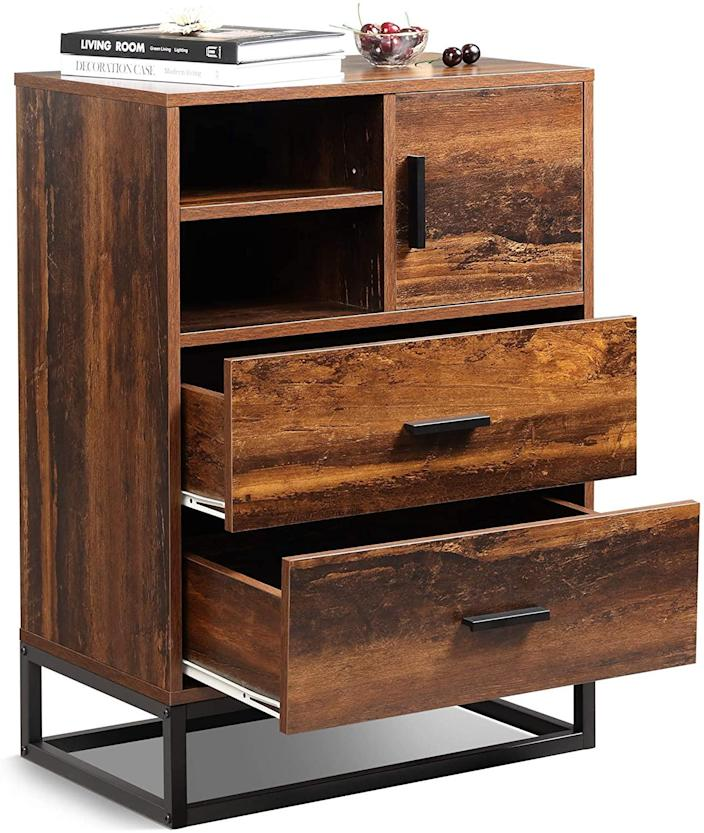 """If you're not someone in the habit of being precious with your furniture, meet the WLIVE dresser, which is both scratch- and stain-resistant. Equal parts industrial and rustic, the rich-toned wood dresser is narrow enough (just under two feet wide) to stick just about anywhere—entryways, living rooms, and, of course, bedrooms, are all fair game. $100, Amazon. <a href=""""https://www.amazon.com/WLIVE-Drawer-Dresser-Storage-Cabinet/dp/B087JBYD9D/ref"""" rel=""""nofollow noopener"""" target=""""_blank"""" data-ylk=""""slk:Get it now!"""" class=""""link rapid-noclick-resp"""">Get it now!</a>"""