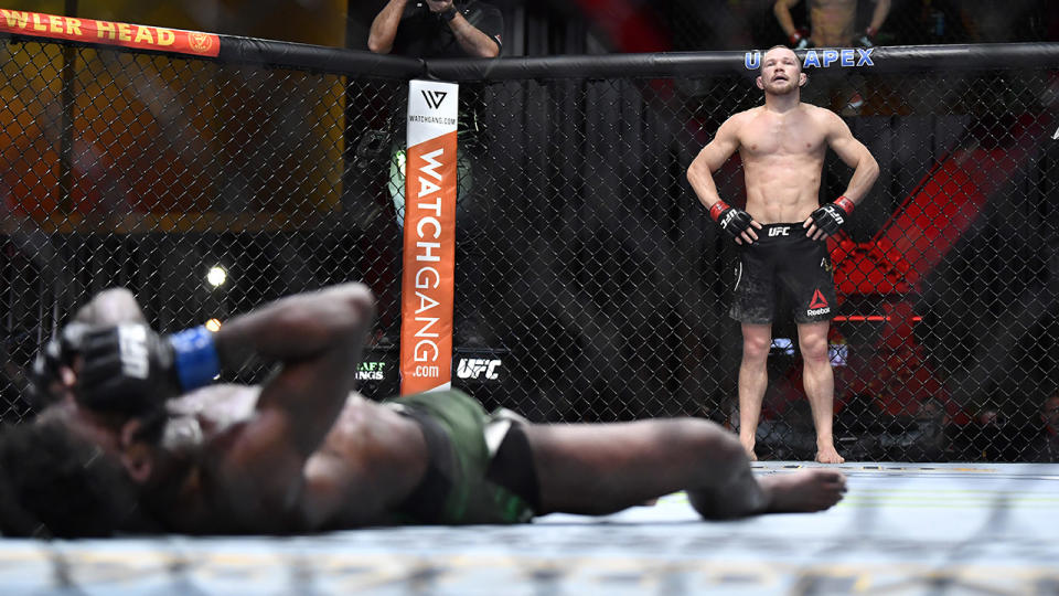 Petr Yan, pictured here after delivering an illegal knee to Aljamain Sterling at UFC 259.
