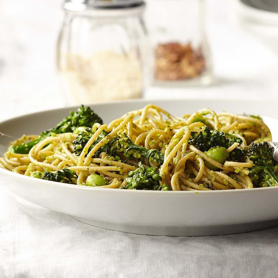 """<p>Broccolini stems are quickly softened in the pasta-boiling water before being whirled with basil and Parmigiano-Reggiano into a flavorful pesto sauce in this healthy vegetarian pasta recipe. It's worth seeking out Parmigiano-Reggiano to make the pesto-its superior flavor elevates the final dish. Edamame bumps up the protein to keep you feeling full and satisfied. <a href=""""http://www.eatingwell.com/recipe/255149/spaghetti-with-broccolini-pesto/"""" rel=""""nofollow noopener"""" target=""""_blank"""" data-ylk=""""slk:View recipe"""" class=""""link rapid-noclick-resp""""> View recipe </a></p>"""