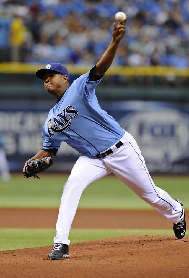 Tampa Bay Rays starting pitcher Enny Romero delivers to the Baltimore Orioles during the first inning of an MLB American League baseball game Sunday, Sept. 22, 2013, in St. Petersburg, Fla. (AP Photo/Brian Blanco)