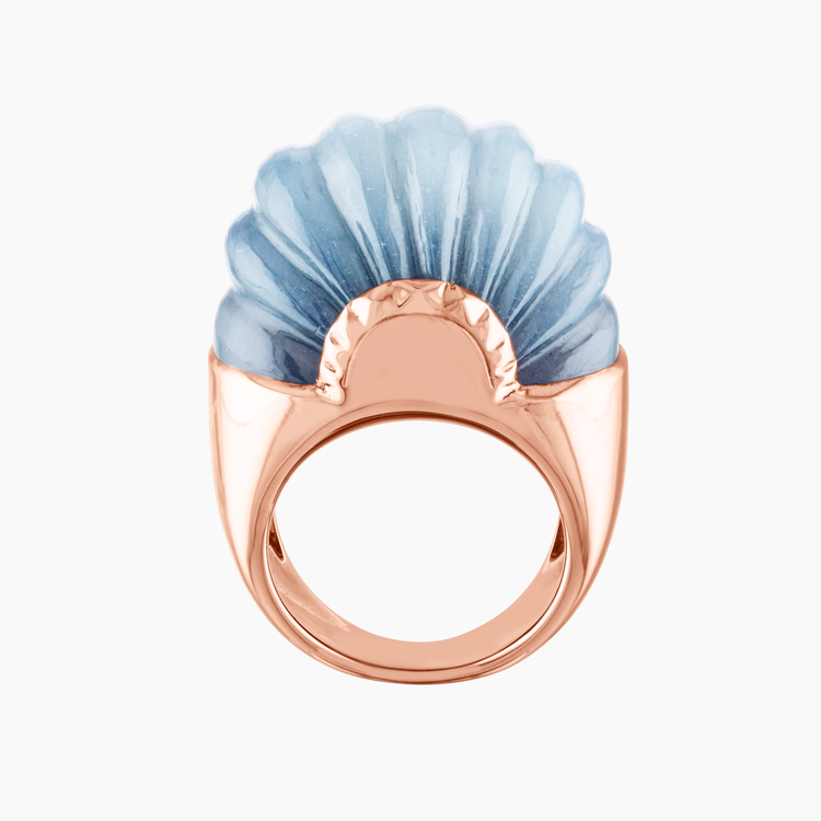 """<p><a class=""""link rapid-noclick-resp"""" href=""""https://www.nanafink.com/new-products/sophistiquee-ring-n-1-rose-gold-grey-moonstone"""" rel=""""nofollow noopener"""" target=""""_blank"""" data-ylk=""""slk:SHOP NOW"""">SHOP NOW</a></p><p>Inspired by the curving arcs of art deco architecture, Swiss jeweller Nana Fink's 'Sophistiquée' ring contrasts warm rose gold with a hand-carved piece of cool grey moonstone. <br></p><p>Moonstone and rose gold ring, around £4567, Nana Fink</p>"""