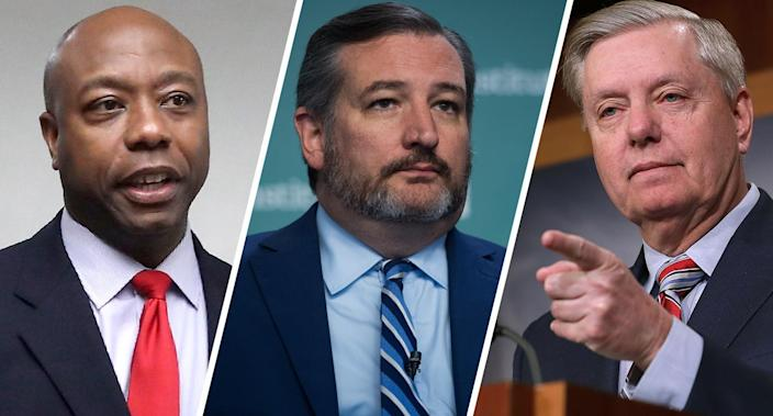Sens. Tim Scott, R-S.C.; Ted Cruz, R-Texas; and Lindsey Graham, R-S.C. (Photos: Mark Wilson/Getty Images, Tom Williams/CQ-Roll Call Inc. via Getty Images, Chip Somodevilla/Getty Images)