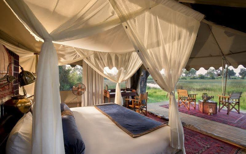 A tented bedroom at Duba Explorer's Camp in Botswana