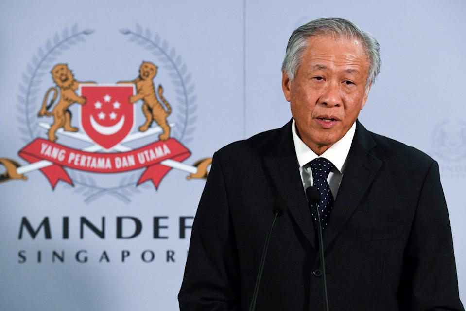 Singapore's Defence Minister Ng Eng Hen speaks to journalists after a meeting with China's Defence Minister Wei Fenghe in Singapore on May 29, 2019. (File Photo: AFP via Getty Images)