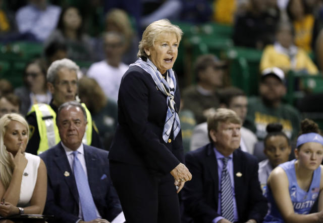 North Carolina head coach Sylvia Hatchell instructs her team in the second half of a first round women's college basketball game in the NCAA Tournament in Waco, Texas, Saturday March 23, 2019. (AP Photo/Tony Gutierrez)