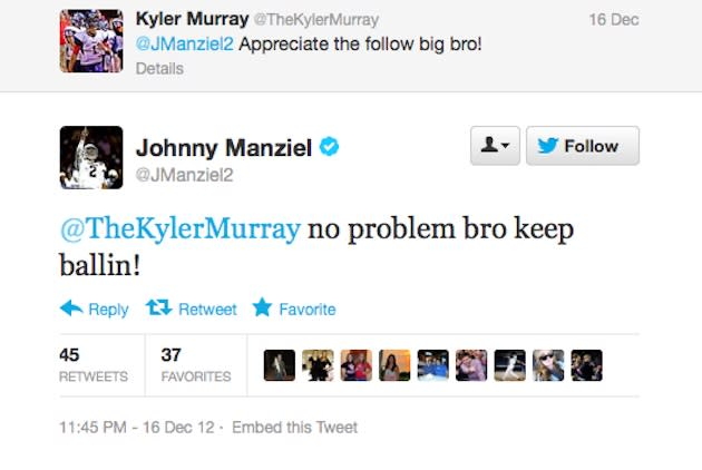 Johnny Manziel Tweets to budding Allen QB Kyler Murray — Twitter