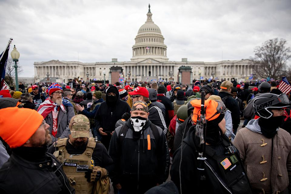Proud Boys outside the U.S. Capitol on Jan. 6, the day of the attack on the Capitol building. (Photo: The Washington Post via Getty Images)