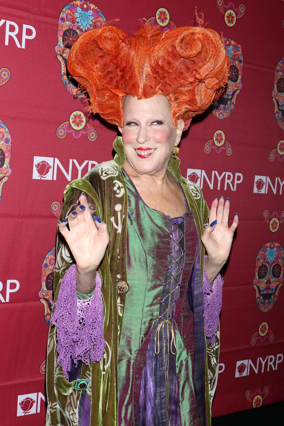 """<strong>Bette Midler as Winifred Sanderson</strong><br><br>Bette Midler automatically won Halloween when, in 2016, she dressed up as Winifred Sanderson, her character from the 1993 Disney Original <em>Hocus Pocus</em>. Maybe the costume sent magical vibes into the universe, because the Disney Channel recently announced it's planning to <a href=""""https://www.refinery29.com/en-us/2017/07/164040/hocus-pocus-twitter-remake-zendaya"""" rel=""""nofollow noopener"""" target=""""_blank"""" data-ylk=""""slk:remake Hocus Pocus."""" class=""""link rapid-noclick-resp"""">remake <em>Hocus Pocus</em>.</a><span class=""""copyright"""">Gregory Pace/REX/Shutterstock</span>"""