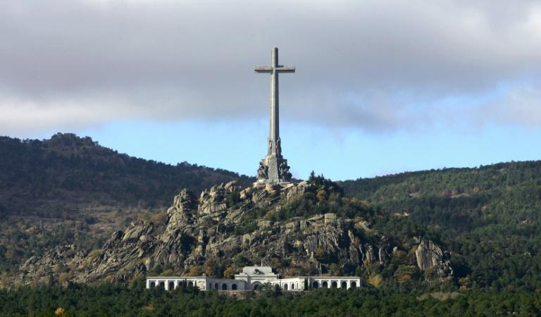 A huge cross stands over the grave of Spanish dictator Francisco Franco in the Valley of the Fallen near Madrid