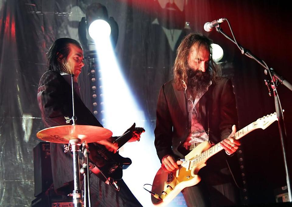 Nick Cave and Warren Ellis of Grinderman performing at the Manchester Academy in 2010.