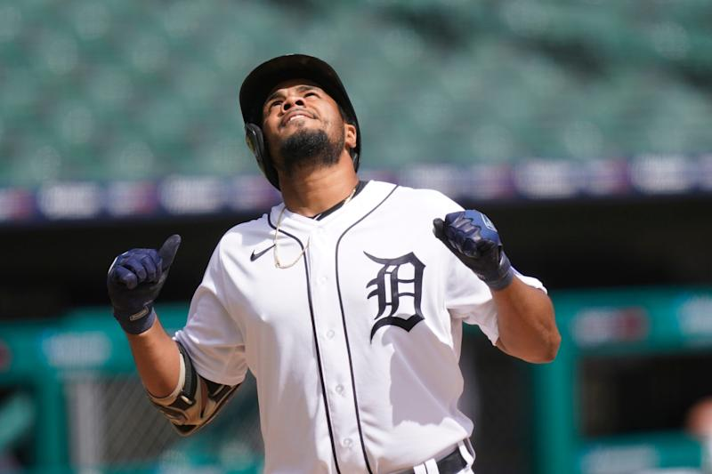 Detroit Tigers' Jeimer Candelario approaches home plate after a solo home run vs. the Minnesota Twins during the fourth inning Sunday, Aug. 30, 2020, in Detroit.