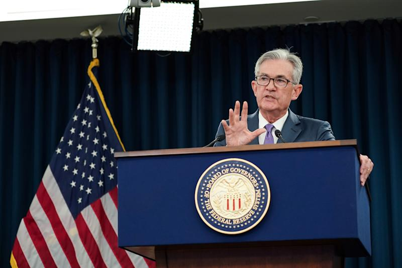 Federal Reserve Chair Jerome Powell holds a news conference following the Federal Reserve's two-day Federal Open Market Committee Meeting in Washington, U.S., July 31, 2019. REUTERS/Sarah Silbiger - RC19A6A73F10