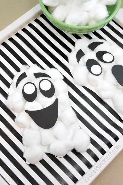 """<p>Your kids will be so proud of these boo-tiful (and adorable!) ghosts. </p><p><strong>Get the tutorial at <a href=""""http://www.housingaforest.com/cotton-ball-ghost-craft/"""" rel=""""nofollow noopener"""" target=""""_blank"""" data-ylk=""""slk:Housing a Forest"""" class=""""link rapid-noclick-resp"""">Housing a Forest</a>.</strong> </p>"""