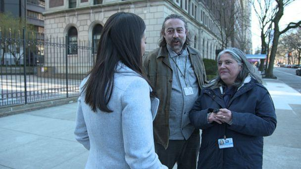 PHOTO: Adolfo Garcia-Sastre and his wife, Dr. Ana Fernandez-Sesma, both virologists, speak to ABC News' Eva Pilgrim about their work finding a treatment for novel coronavirus at the Quantitative Biosciences Institute. (ABC News)