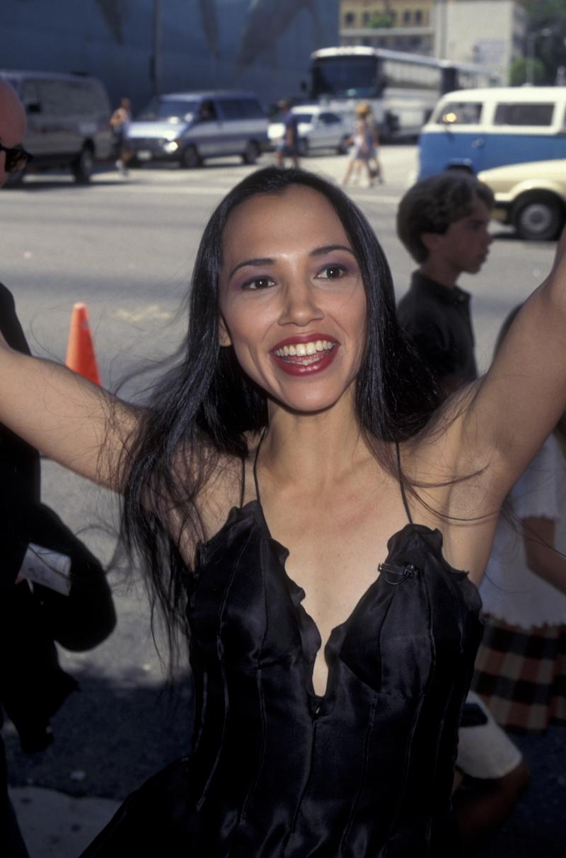 "HOLLYWOOD, CA - JUNE 11: Irene Bedard attends the premiere of ""Pocahontas"" on June 11, 1995 at the El Capitan Theater in Hollywood, California. (Photo by Ron Galella, Ltd./Ron Galella Collection via Getty Images)"