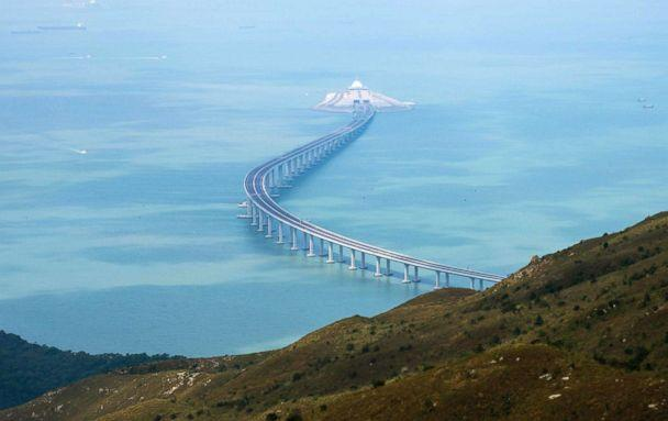 PHOTO: A section of the Hong Kong-Zhuhai-Macau Bridge (HKZMB) is seen from Lantau island in Hong Kong, Oct. 7, 2018. (AFP/Getty Images)