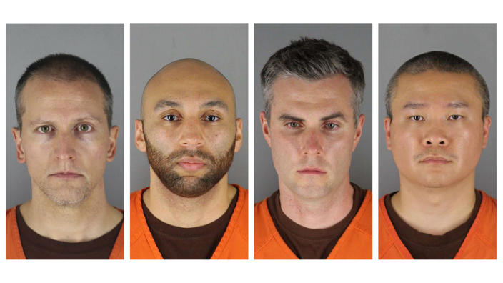 Former Minneapolis Police officers Derek Chauvin, J. Alexander Kueng, Thomas Lane and Tou Thao. (Hennepin County Sheriff's Office via AP, File)