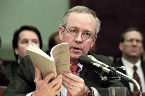 PHOTO: Independent Counsel Kenneth Starr addresses the House Judiciary Committee regarding U.S. President Bill Clinton's impeachment in Washington, Nov. 19, 1998. (David Hume Kennerly/Getty Images)