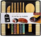 <p>Learn how to make the perfect sushi with the <span>Soeos Beginner Bamboo Sushi Making Kit-10 pcs</span> ($15).</p>