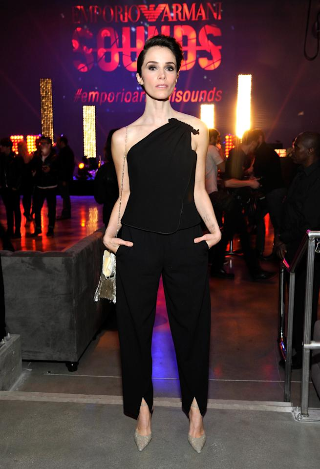 HOLLYWOOD, CA - FEBRUARY 11: Actress Abigail Spencer, wearing Emporio Armani, attends Emporio Armani Sounds Los Angeles at NeueHouse Los Angeles on February 11, 2016 in Hollywood, California. (Photo by John Sciulli/Getty Images for Armani)