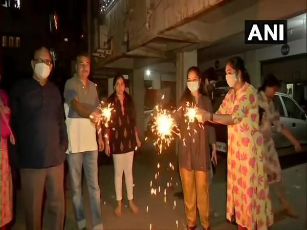 Scores of people in Telangana's capital city of Hyderabad were seen bursting crackers during Diwali celebration.