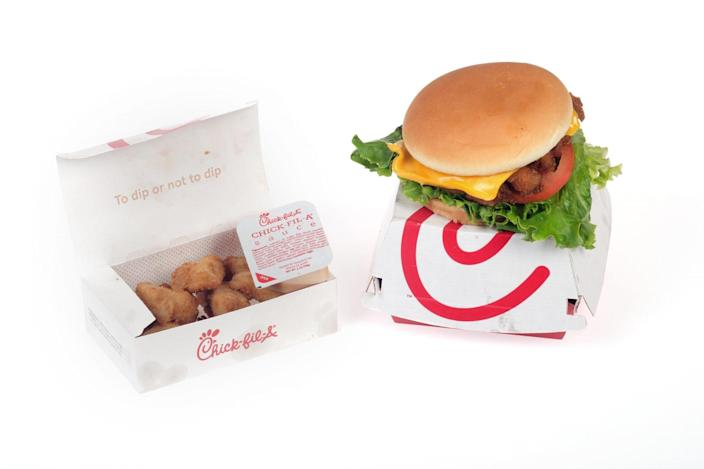 Chick-Fil-A Deluxe Chicken sandwich with dipping sauce