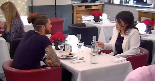 Sam and Kathleen on their date during an episode of First Date. Source: Channel Four