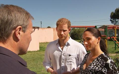 Tom Bradby and their Royal Highnesses The Duke and Duchess of Sussex in South Africa - Credit: ITV