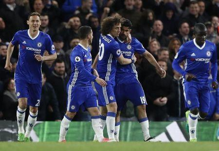 Britain Football Soccer - Chelsea v Southampton - Premier League - Stamford Bridge - 25/4/17 Chelsea's Diego Costa celebrates scoring their third goal with teammates Reuters / Stefan Wermuth Livepic