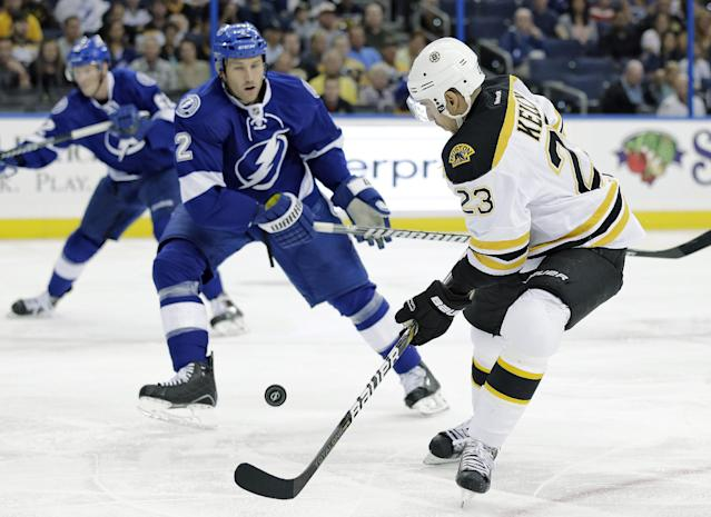 Boston Bruins center Chris Kelly (23) knocks the puck down in front of Tampa Bay Lightning defenseman Eric Brewer (2) during the first period of an NHL hockey game Saturday, Oct. 19, 2013, in Tampa, Fla. (AP Photo/Chris O'Meara)