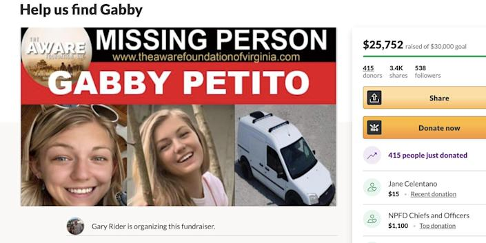 A GoFundMe page for missing 22-year-old Gabby Petito