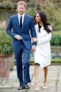 """<p>From the first moment she announced her engagement to Prince Harry, Meghan was changing it up. During their <a href=""""https://www.cosmopolitan.com/entertainment/celebs/a13936244/prince-harry-meghan-markle-engaged-first-appearance-ring-photos/"""" rel=""""nofollow noopener"""" target=""""_blank"""" data-ylk=""""slk:official photo session"""" class=""""link rapid-noclick-resp"""">official photo session</a>, Meghan chose to (hold your gasps, please) not wear pantyhose. While this might seem like nothing special for most women under 85, it's highly unusual for a royal. Queen Elizabeth wears them, Kate Middleton wears them, and Princess Diana wore them. So while it may not be an official rule, it's definitely a <em>tradition</em>.</p>"""