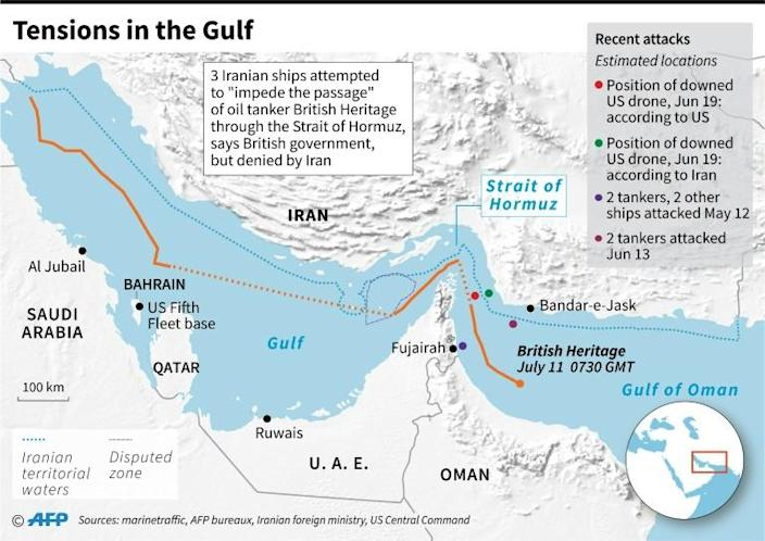 """Map showing the path from July 6-11 of the oil tanker """"British Heritage"""" (AFP Photo/)"""