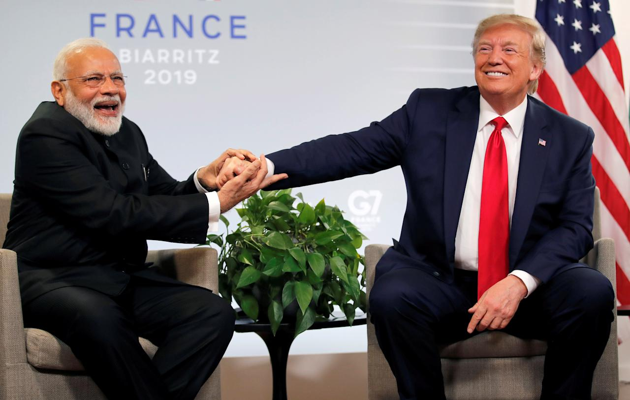 U.S. President Donald Trump meets Indian Prime Minister Narendra Modi for bilateral talks during the G7 summit in Biarritz, France, August 26, 2019. REUTERS/Carlos Barria     TPX IMAGES OF THE DAY